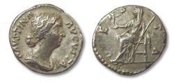 Ancient Coins - AR denarius Faustina Junior, 175-176 A.D. --VESTA--