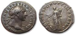 Ancient Coins - AR denarius Trajan / Trajanus, Rome mint AD 107-110 - Fortuna left -