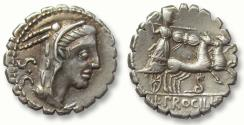 Ancient Coins - AR denarius L. Procilius, Rome 80 B.C. -- sharp strike, beautifully toned --