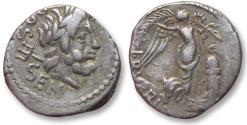 Ancient Coins - AR Quinarius L. Rubrius Dossenus, Rome mint 87 B.C. - quite beautiful for the type -