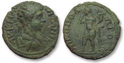 Ancient Coins - AE 17 (assarion) Caracalla, Moesia Inferior - Nikopolis ad Istrum 198-217 A.D. - Harpokrates -