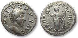 Ancient Coins - AR denarius Lucius Verus, Rome 163 A.D. -- Providentia standing left --
