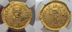 Ancient Coins - AV gold solidus emperor Marcianus, Constantinople mint circa 450-457 A.D. - NGC graded -