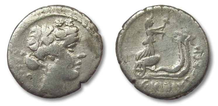 Ancient Coins - HS: AR denarius C. Vibius C.f. Cn. Pansa Caetronianus, Rome 48 B.C.