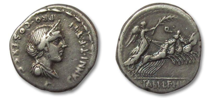 Ancient Coins - HS: AR denarius C. Annius T.f. T.n. and L. Fabius L.f. Hispaniensis, North Italy/Spain 82-81 B.C.