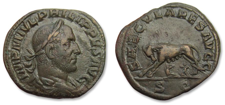 Ancient Coins - AE 30mm sestertius Philip I 'the Arab' - iconic she-wolf reverse, scarce - Rome mint, 248 A.D. - celebrating 1000 years Rome -