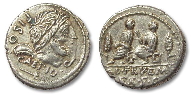 Ancient Coins - HS: AR denarius L. Calpurnius Piso Caesonius, Q. Servilius Caepio, Rome 100 B.C.