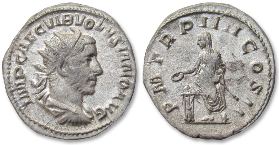 Ancient Coins - AR antoninianus Volusian / Volusianus - scarcer cointype - Rome mint 253 A.D. - P M TR P IIII COS II, the emperor sacrificing -