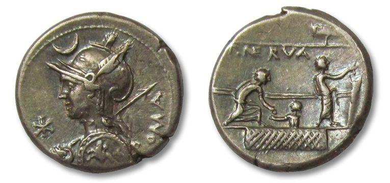 Ancient Coins - AR denarius P. Licinius Nerva, Rome 113-112 B.C.
