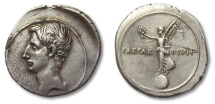 Ancient Coins - AR denarius Octavian / Octavianus, Victory at battle of Actium, Rome or Brundisium 32-29 B.C.