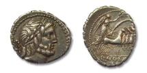 Ancient Coins - HS: AR denarius Q. Antonius Balbus, Rome 83-82 B.C. --beautiful toning--