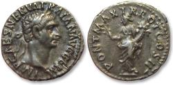 Ancient Coins - AR denarius Trajan / Trajanus, Rome 98 A.D. -- Pax standing left --