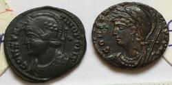 Ancient Coins - Group of 2 Æ city commemorative Folles Constantine I 306-337 AD - great quality, with original sale tickets, Trier & unknown mint (not readable)