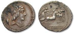 Ancient Coins - AR denarius, L. Julius Bursio, Rome 85 BC - hints of gold irridescence obverse, great strike -