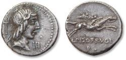 Ancient Coins - AR Denarius, L. Calpurnius Piso Frugi, Rome 90 B.C.