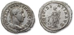 Ancient Coins - AR denarius Severus Alexander, Rome mint 231-235 A.D. - PROVIDENTIA AVG, nearly mint state -
