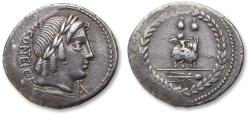 Ancient Coins - AR denarius Mn. Fonteius C.f. Rome, 85 BC - sharp & beautifully toned -