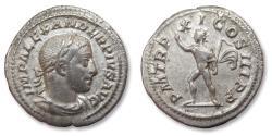Ancient Coins - AR Denarius, Severus Alexander, Rome mint 232 A.D. - P M TR P XI COS III P P, Sol standing right, head left -