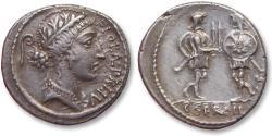 Ancient Coins - AR Denarius, C. Servilius C.f., Rome 57 B.C. - Soldiers presenting their swords -