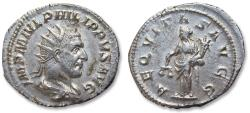 Ancient Coins - AR antoninianus, Philip I 'the Arab' - near mint state coin - Rome mint 244-247 A.D. - AEQVITAS AVG -