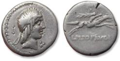Ancient Coins - AR denarius L. Calpurnius Piso Frugi, Rome 90 B.C.