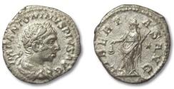 Ancient Coins - HS: AR denarius Elagabalus, Rome 220-221 A.D. --LIBERTAS--