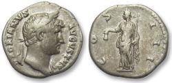 Ancient Coins - AR denarius Hadrian / Hadrianus, Rome 132-134 A.D. - Liberalitas holding liberty cap & staff -
