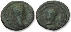 Ancient Coins - AE 18 (assarion) Septimius Severus, - Nikopolis ad Istrum 193-211 A.D. - RARE bust left of Herakles -