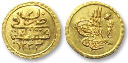 World Coins - AV gold 1/4 zeri mahbub or 1/4 altin, Mahmud II, Ottoman Empire 1808-1839 A.D.