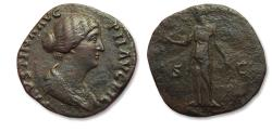 Ancient Coins - Æ Sestertius Faustina II Junior, Rome mint 147-150 A.D. - Diana standing left