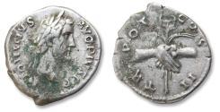 Ancient Coins - AR denarius Antoninus Pius - struck in his 1st year of reign - Rome 138-139 A.D. - TR POT COS II, clasped hands holding caduceus and grain-ears -