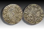 World Coins - Pointed Helmet type AR penny Cnut the Great - YORK mint 1024-1030 A.D. - moneyer GODMAN