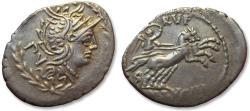 Ancient Coins - AR Denarius, M. Lucilius Rufus, Rome 101 B.C. - huge flan -