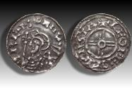 World Coins - Short cross type AR penny Cnut the Great - STAMFORD mint 1029-1035 A.D. - moneyer LEOFEDÆI
