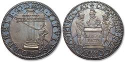 World Coins - Spanish Netherlands AR silver jeton Dordrecht mint 1596: on the vigilance with truce & the triple alliance