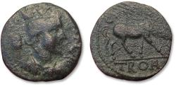 Ancient Coins - Troas, Alexandria Troas. Civic AE 22mm Issue. Circa 250 AD - horse grazing right -