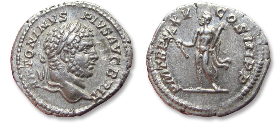 Ancient Coins - AR denarius, Caracalla. Rome 212 A.D. - P M TR P XV COS III P P, Hercules standing left -
