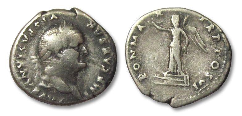 Ancient Coins - HS: AR denarius Vespasian / Vespasianus, Victory on prow, 75 A.D.