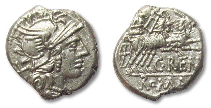 Ancient Coins - AR denarius C. Renius, ancient Rome 138 B.C.