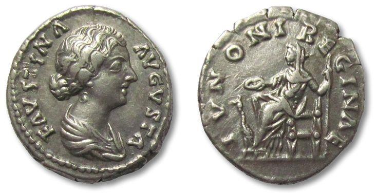 Ancient Coins - AR denarius Faustina II, Rome 147-176 A.D. --IVNONI REGINAE--