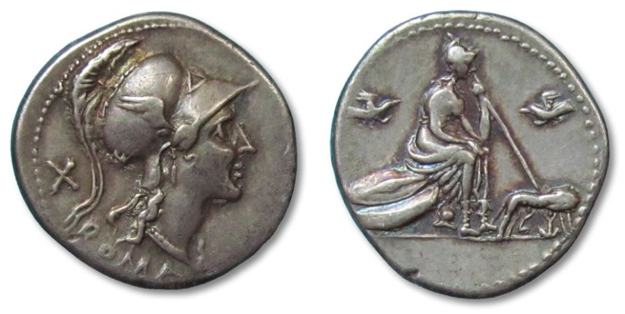 Ancient Coins - AR denarius anonymous issue, Rome 115-114 B.C. --full strike, hints of gold irridescence--