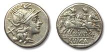Ancient Coins - HS: AR denarius C. Iunius C.f., Rome 149 B.C.