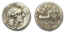 Ancient Coins - HS: AR denarius M. Papirius Carbo, Rome 122 B.C.