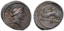 Ancient Coins - AR denarius Mn. Cordius Rufus, 46 B.C. -- Cupid riding dolphin --