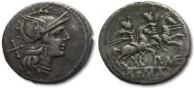 AR denarius P.MAE series, Rome 194-190 B.C.