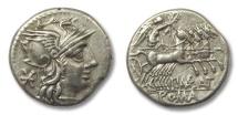 Ancient Coins - AR denarius P. Maenius Antiaticus, Rome 132 B.C.
