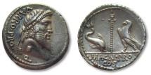 Ancient Coins - AR denarius Cn. Pompeius Magnus and Terentius Varro, mint moving with Pompey, 49 B.C. --SCARCE--