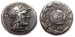 Ancient Coins - AR denarius M. Caecilius Q.f. Metellus, Rome 127 B.C.
