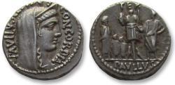 Ancient Coins - AR denarius L. Aemilius Lepidus Paullus and L. Scribonius Libo, Rome 62 B.C.