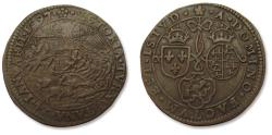 World Coins - Spanish Netherlands AE jeton Dordrecht mint 1597: victory at battle of Turnhout, Dutch defeat Spanish army